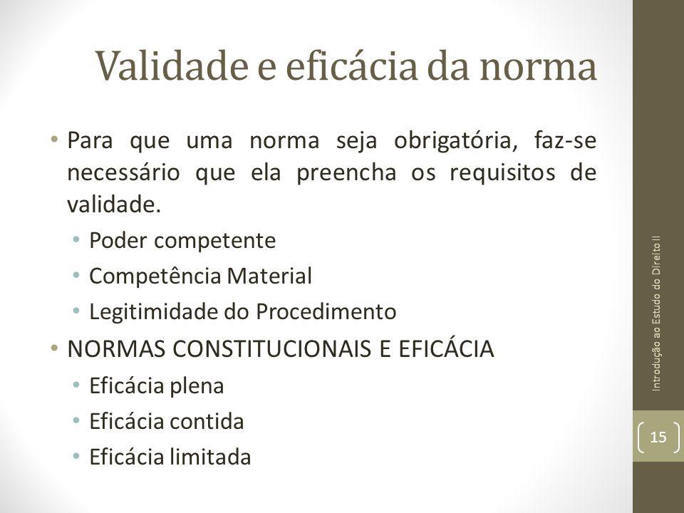 Validade e eficácia da norma Para que uma norma seja obrigatória, faz-se necessário que ela preencha os requisitos de validade. Poder competente Compe