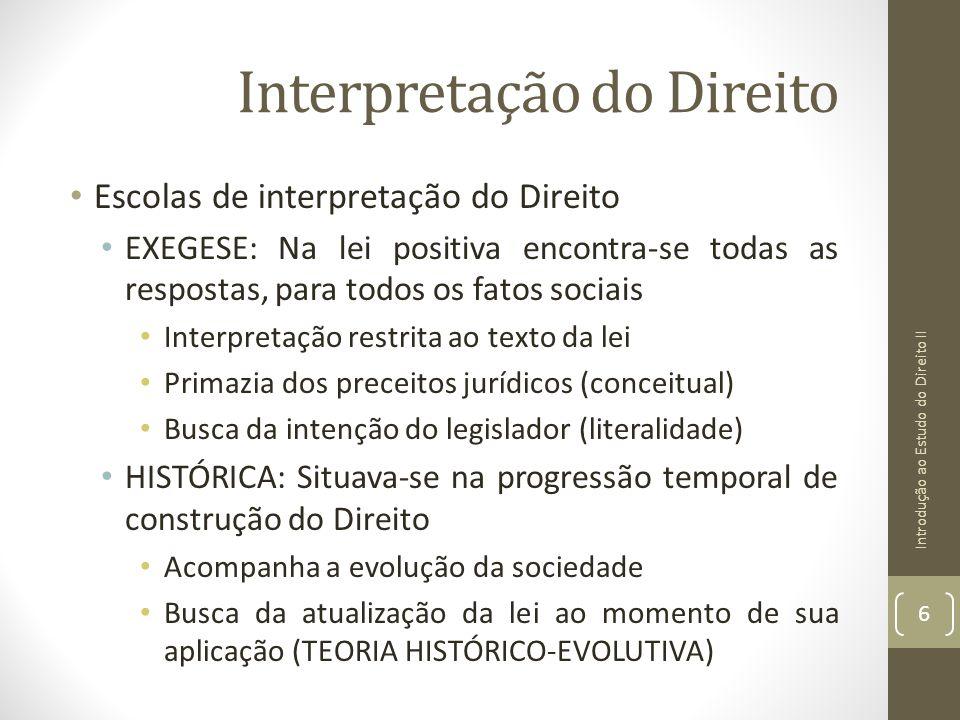 Interpretação do Direito Escolas de interpretação do Direito EXEGESE: Na lei positiva encontra-se todas as respostas, para todos os fatos sociais Inte