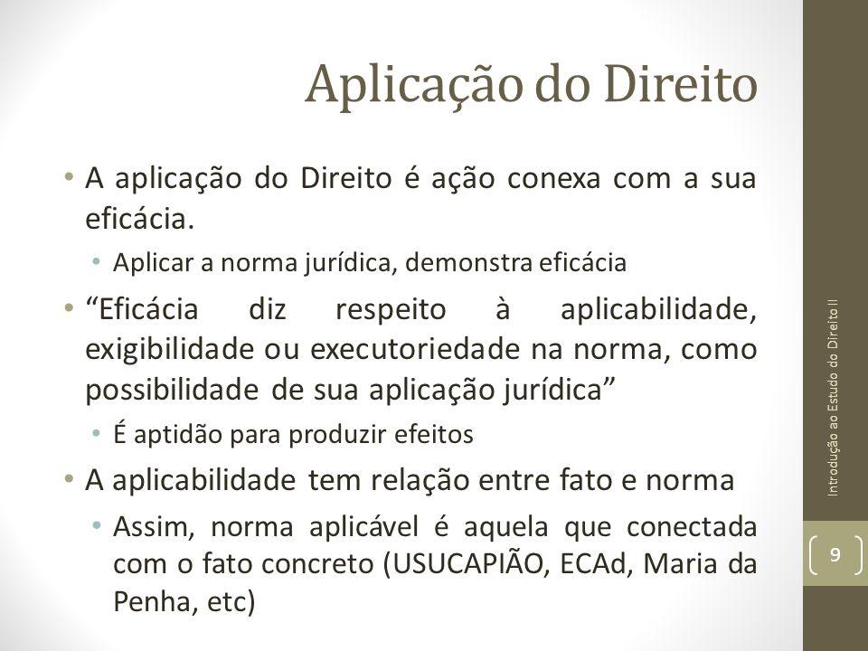 Aplicação do Direito A aplicação do Direito é ação conexa com a sua eficácia. Aplicar a norma jurídica, demonstra eficácia Eficácia diz respeito à apl