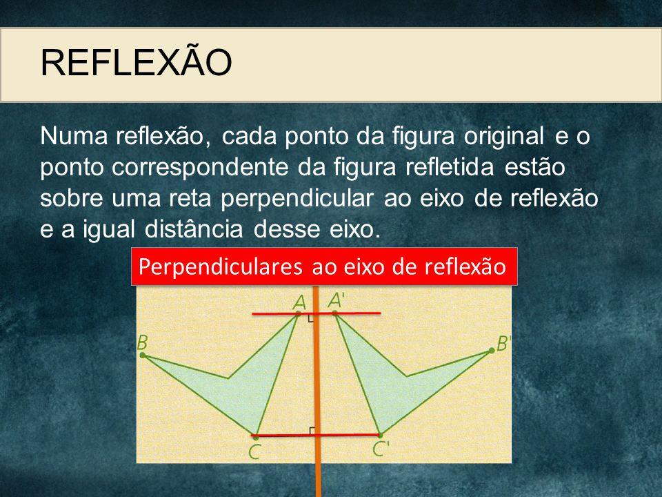 REFLEXÃO Numa reflexão, cada ponto da figura original e o ponto correspondente da figura refletida estão sobre uma reta perpendicular ao eixo de refle