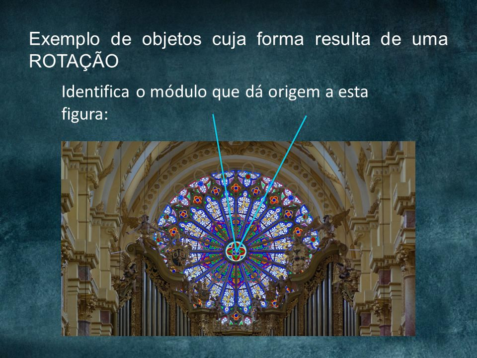 Exemplo de objetos cuja forma resulta de uma ROTAÇÃO Identifica o módulo que dá origem a esta figura: