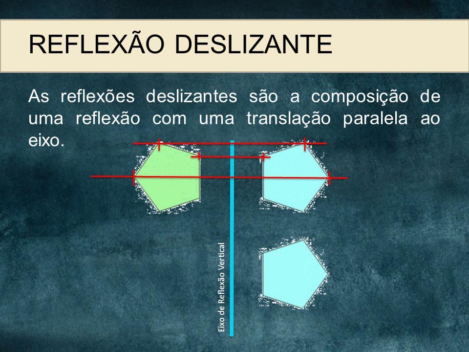 REFLEXÃO DESLIZANTE As reflexões deslizantes são a composição de uma reflexão com uma translação paralela ao eixo. Eixo de Reflexão Vertical