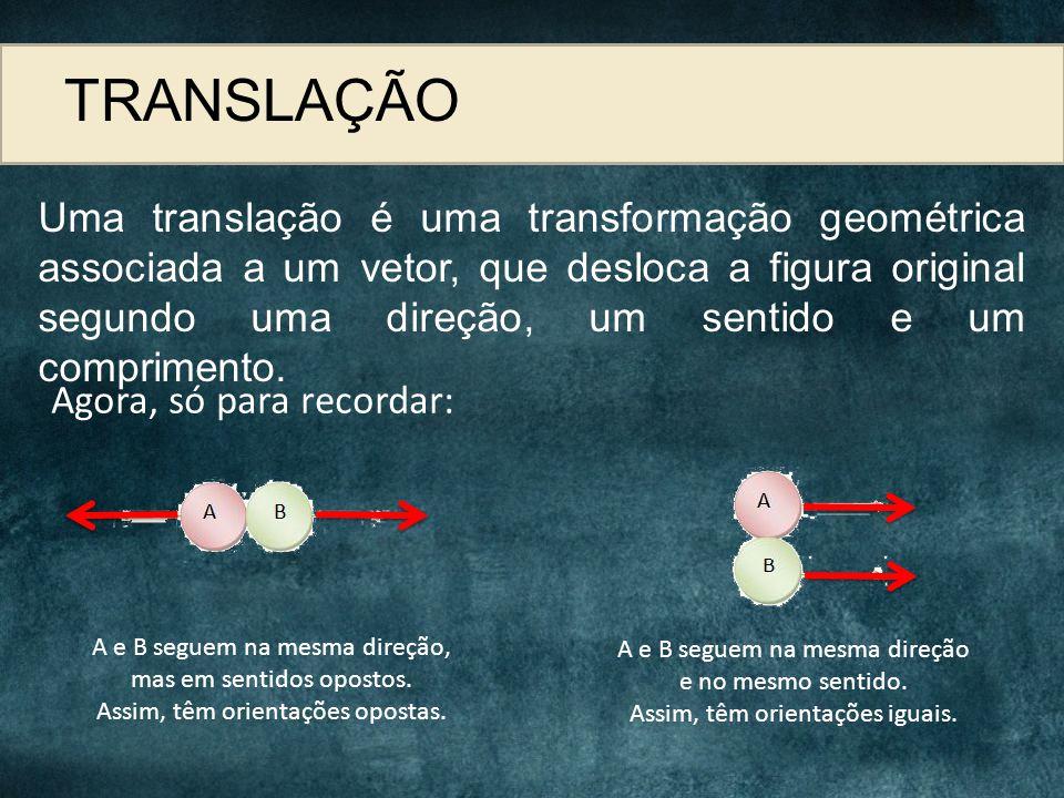 TRANSLAÇÃO Uma translação é uma transformação geométrica associada a um vetor, que desloca a figura original segundo uma direção, um sentido e um comp