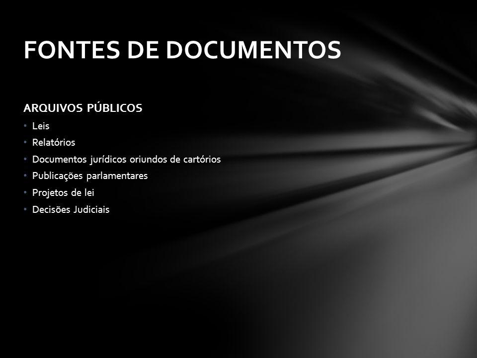 ARQUIVOS PÚBLICOS Leis Relatórios Documentos jurídicos oriundos de cartórios Publicações parlamentares Projetos de lei Decisões Judiciais FONTES DE DOCUMENTOS