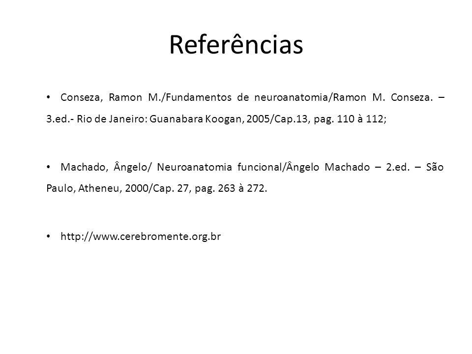 Referências Conseza, Ramon M./Fundamentos de neuroanatomia/Ramon M. Conseza. – 3.ed.- Rio de Janeiro: Guanabara Koogan, 2005/Cap.13, pag. 110 à 112; M