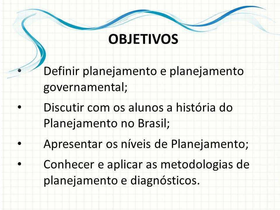 OBJETIVOS Definir planejamento e planejamento governamental; Discutir com os alunos a história do Planejamento no Brasil; Apresentar os níveis de Planejamento; Conhecer e aplicar as metodologias de planejamento e diagnósticos.