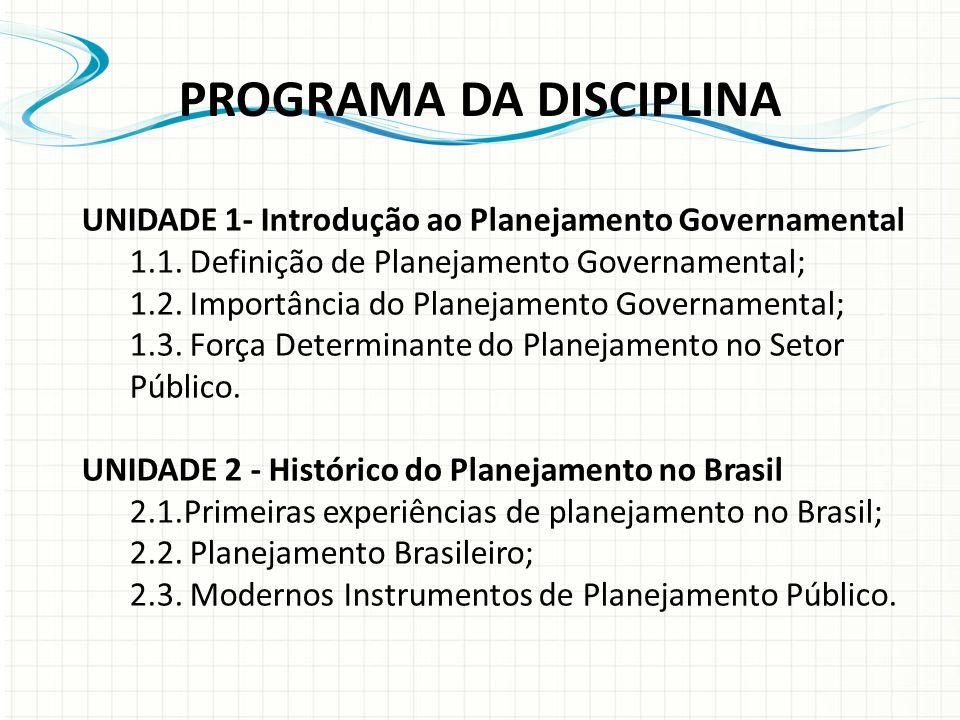 UNIDADE 1- Introdução ao Planejamento Governamental 1.1.