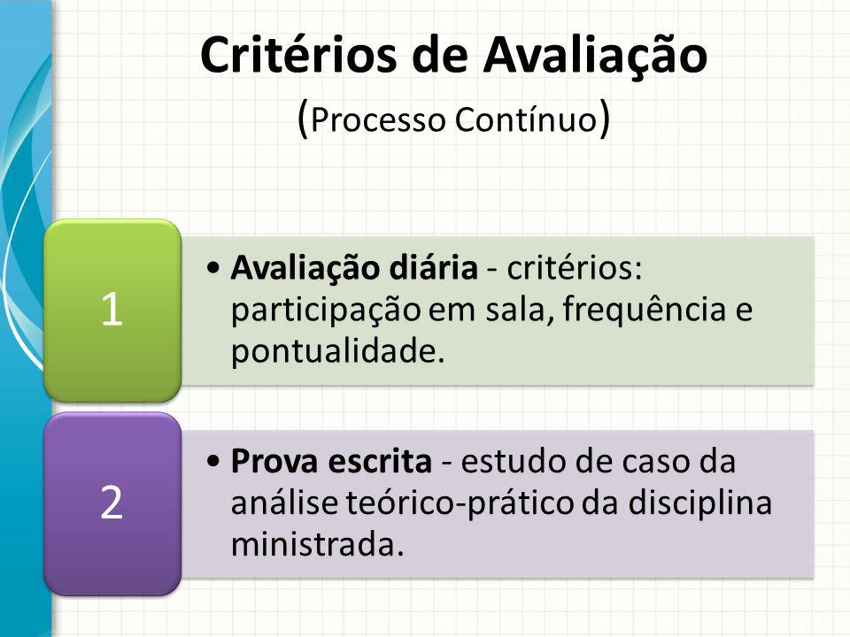 Avaliação diária - critérios: participação em sala, frequência e pontualidade.