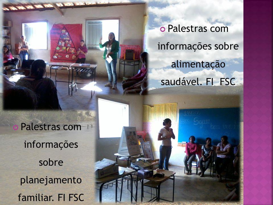 Palestras com informações sobre planejamento familiar. FI FSC Palestras com informações sobre alimentação saudável. FI FSC