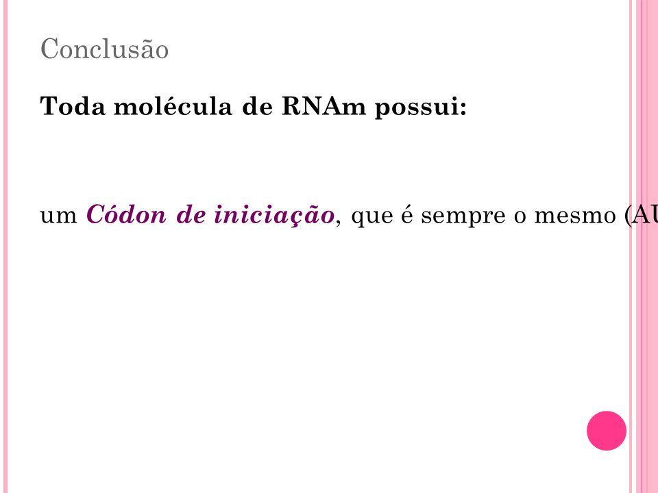 Conclusão Toda molécula de RNAm possui: um Códon de iniciação, que é sempre o mesmo (AUG), correspondente ao aminoácido metionima ; vários códons que