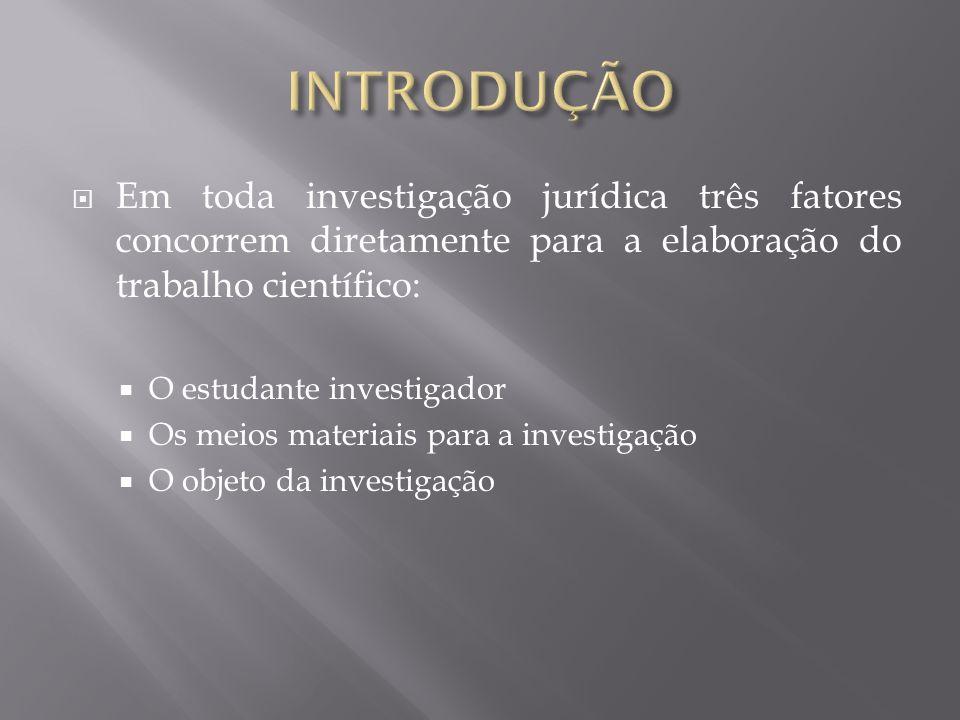 Em toda investigação jurídica três fatores concorrem diretamente para a elaboração do trabalho científico: O estudante investigador Os meios materiais para a investigação O objeto da investigação