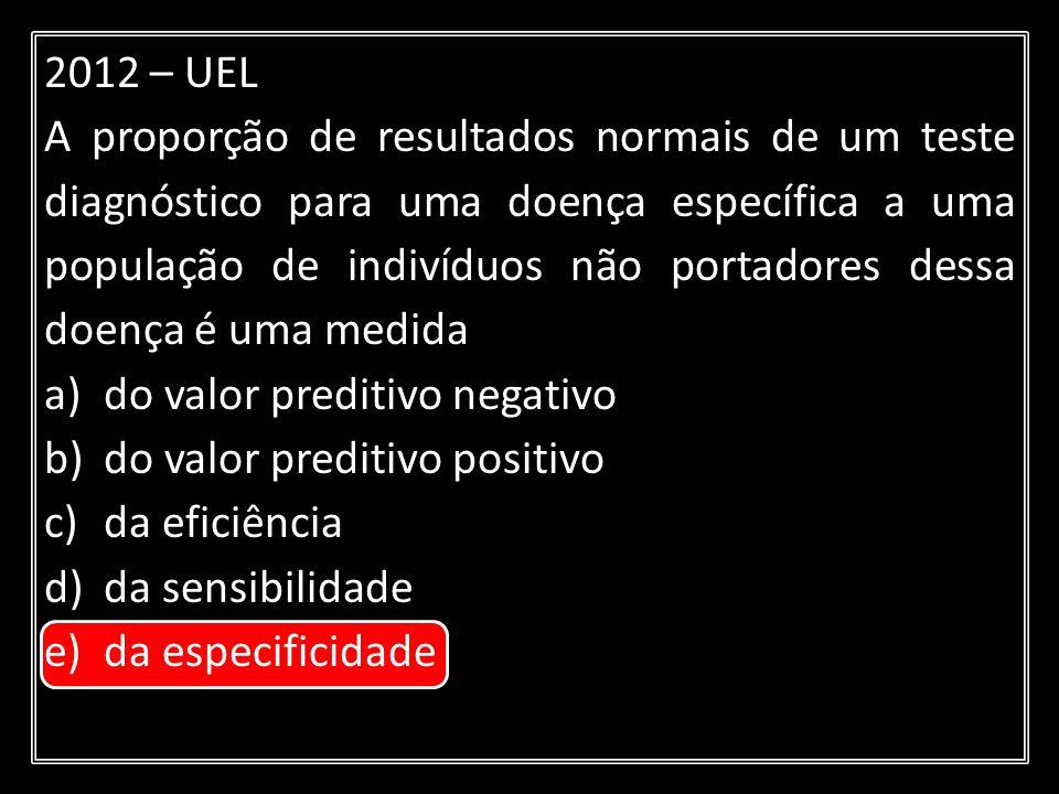 2012 – UEL A proporção de resultados normais de um teste diagnóstico para uma doença específica a uma população de indivíduos não portadores dessa doe