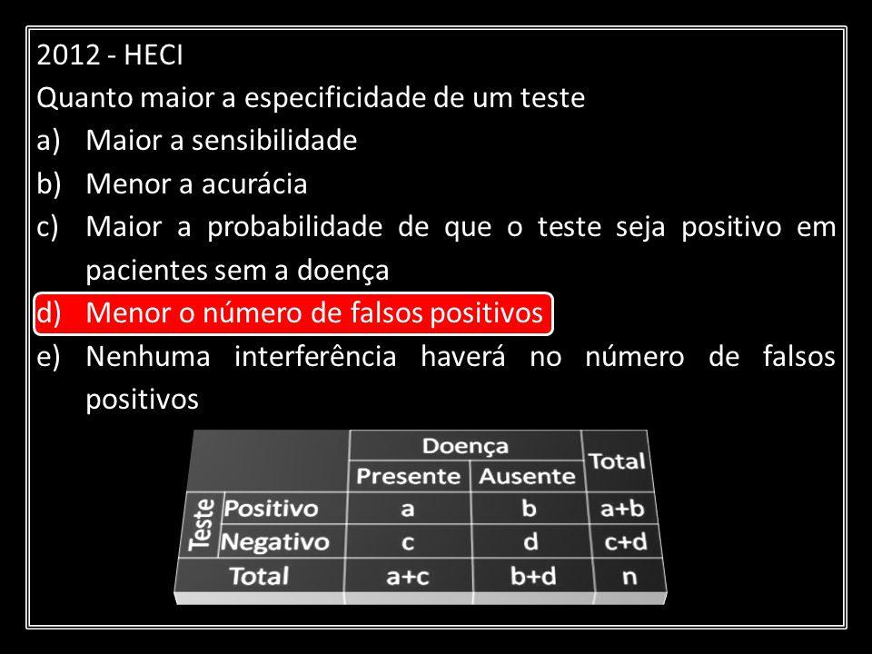 2012 - HECI Quanto maior a especificidade de um teste a)Maior a sensibilidade b)Menor a acurácia c)Maior a probabilidade de que o teste seja positivo