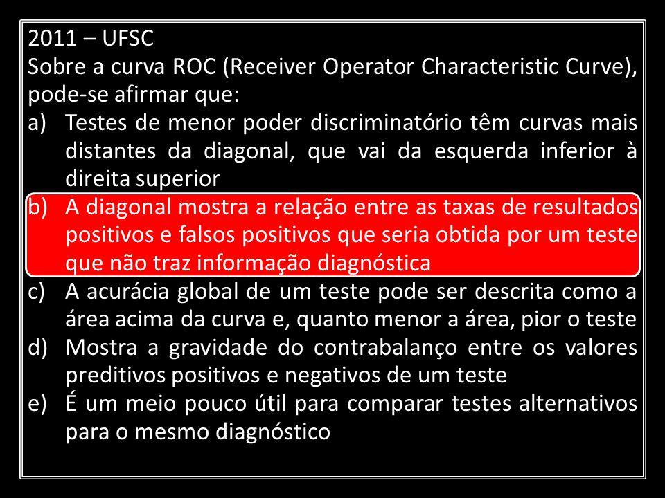 2011 – UFSC Sobre a curva ROC (Receiver Operator Characteristic Curve), pode-se afirmar que: a)Testes de menor poder discriminatório têm curvas mais d