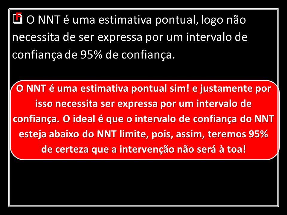 O NNT é uma estimativa pontual, logo não necessita de ser expressa por um intervalo de confiança de 95% de confiança. O NNT é uma estimativa pontual,
