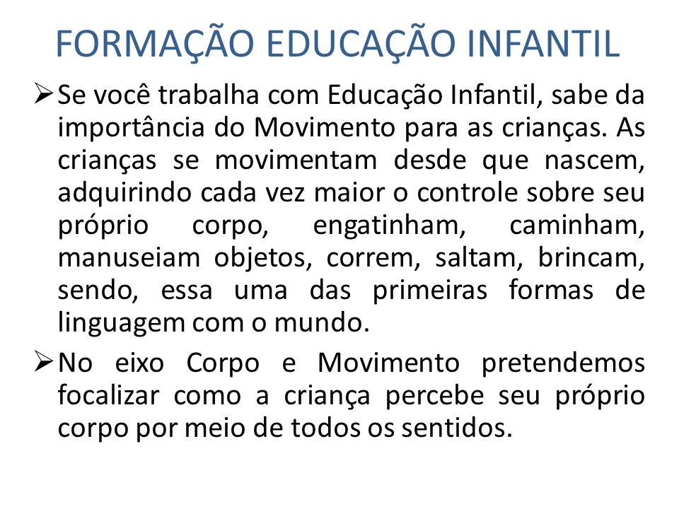 FORMAÇÃO EDUCAÇÃO INFANTIL Se você trabalha com Educação Infantil, sabe da importância do Movimento para as crianças. As crianças se movimentam desde
