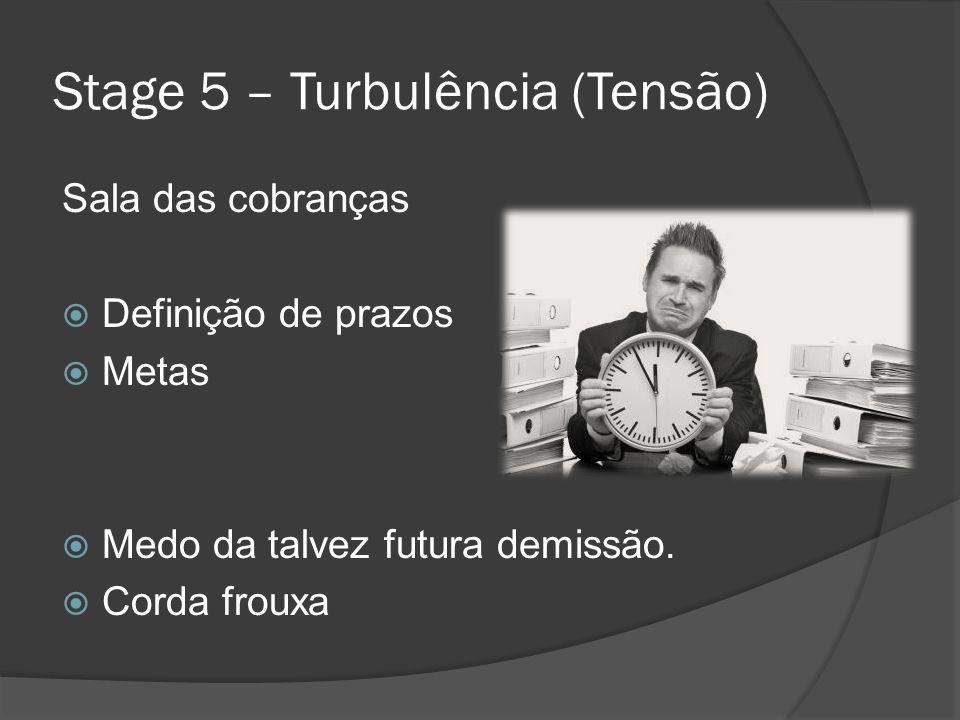 Stage 5 – Turbulência (Tensão) Sala das cobranças Definição de prazos Metas Medo da talvez futura demissão. Corda frouxa