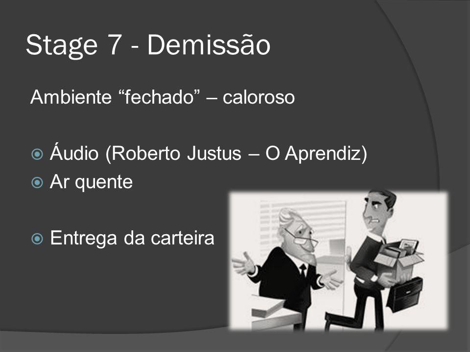 Stage 7 - Demissão Ambiente fechado – caloroso Áudio (Roberto Justus – O Aprendiz) Ar quente Entrega da carteira