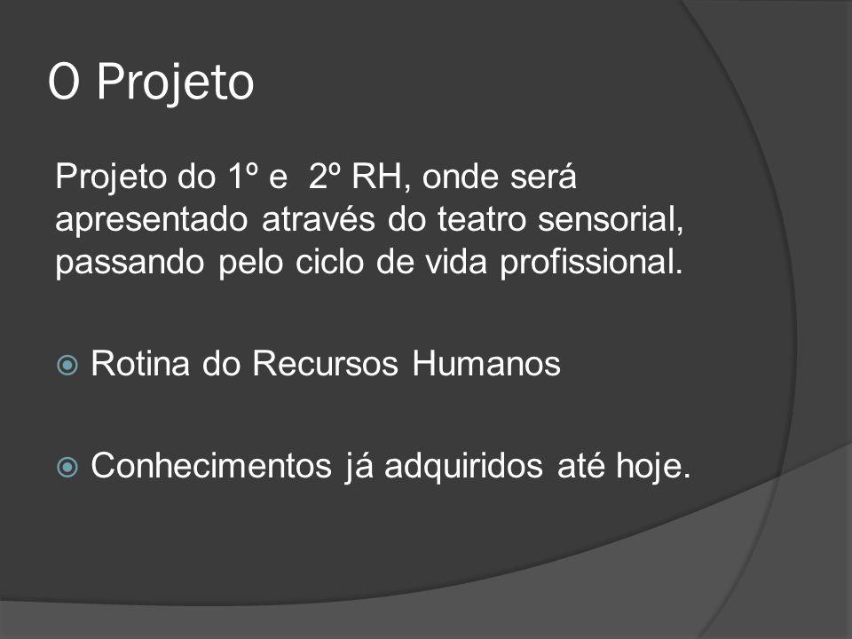 O Projeto Projeto do 1º e 2º RH, onde será apresentado através do teatro sensorial, passando pelo ciclo de vida profissional. Rotina do Recursos Human
