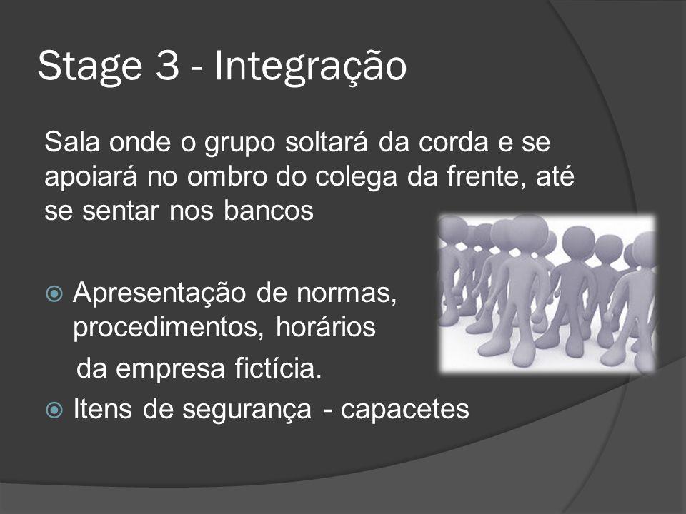 Stage 3 - Integração Sala onde o grupo soltará da corda e se apoiará no ombro do colega da frente, até se sentar nos bancos Apresentação de normas, pr