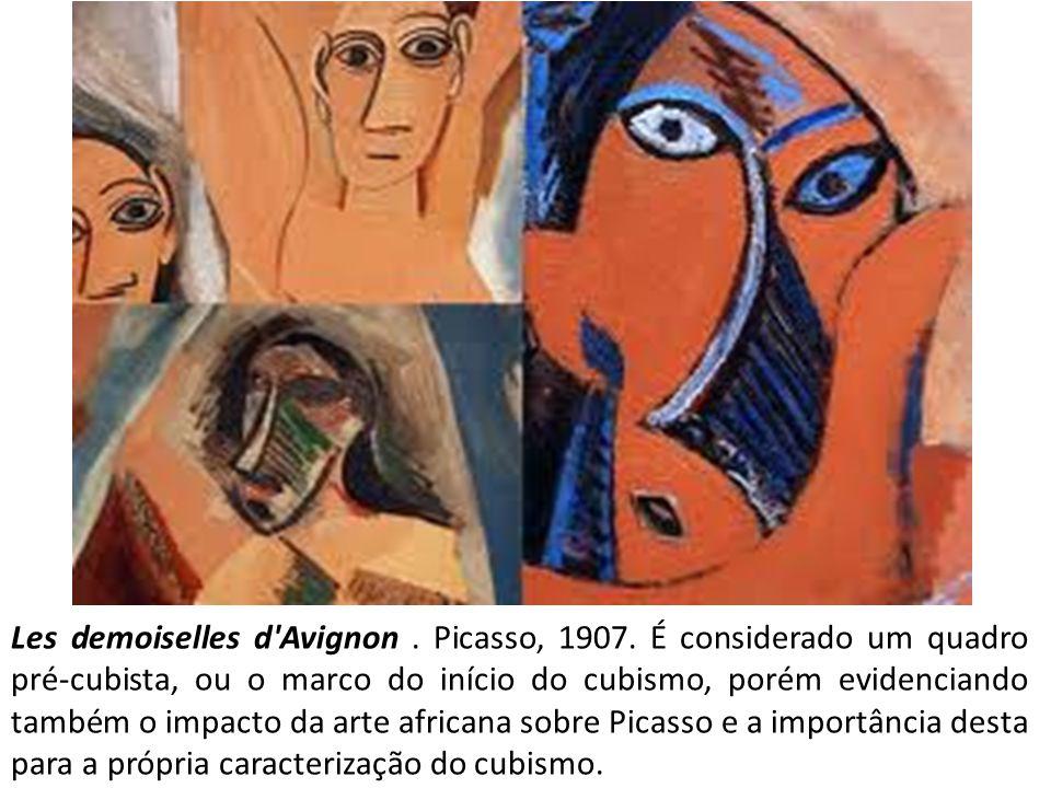 Les demoiselles d'Avignon. Picasso, 1907. É considerado um quadro pré-cubista, ou o marco do início do cubismo, porém evidenciando também o impacto da