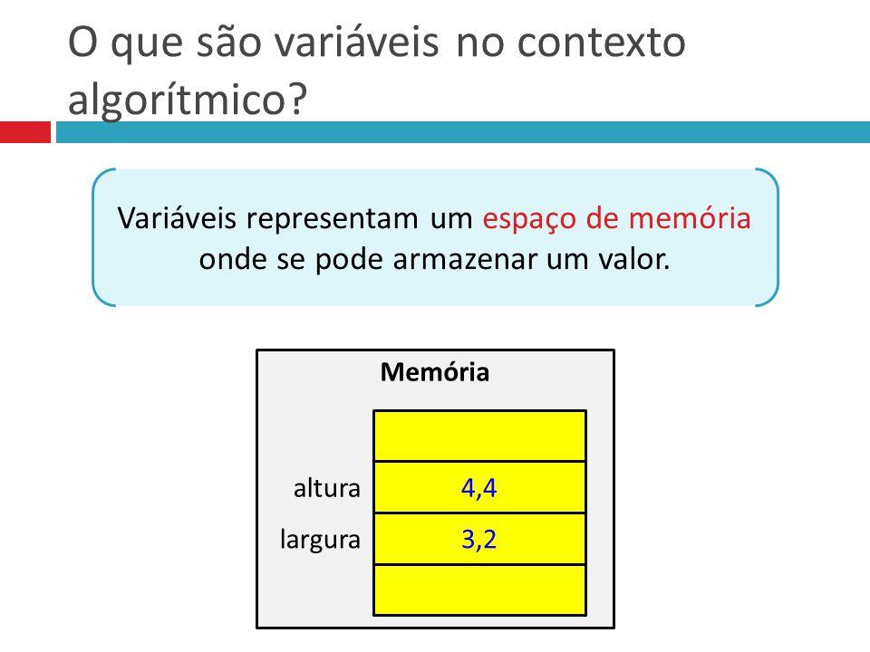O que são variáveis no contexto algorítmico? Variáveis representam um espaço de memória onde se pode armazenar um valor. Memória 4,4 3,2 altura largur