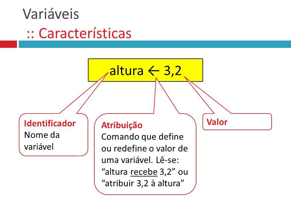 Variáveis :: Características altura 3,2 Identificador Nome da variável Valor Atribuição Comando que define ou redefine o valor de uma variável. Lê-se: