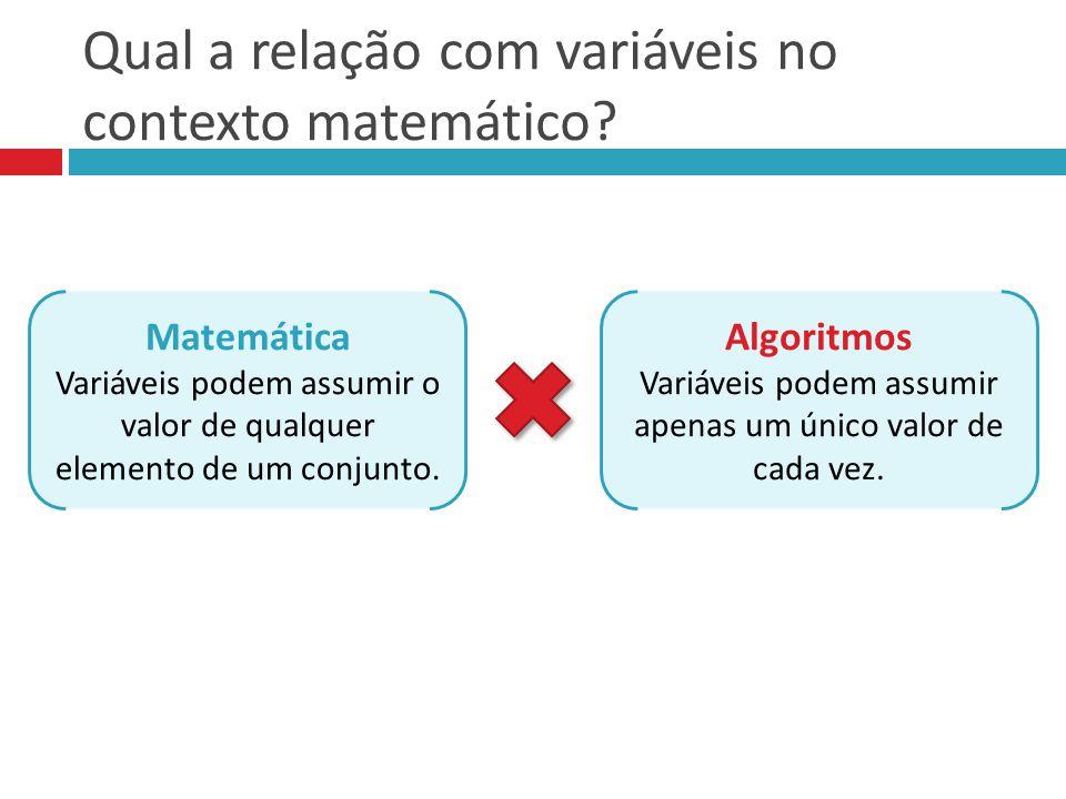 Qual a relação com variáveis no contexto matemático? Matemática Variáveis podem assumir o valor de qualquer elemento de um conjunto. Algoritmos Variáv