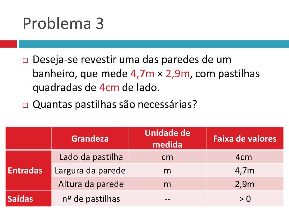 Problema 3 Deseja-se revestir uma das paredes de um banheiro, que mede 4,7m × 2,9m, com pastilhas quadradas de 4cm de lado. Quantas pastilhas são nece