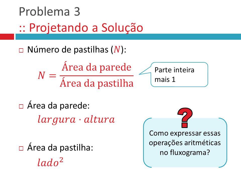 Problema 3 :: Projetando a Solução Como expressar essas operações aritméticas no fluxograma? Parte inteira mais 1