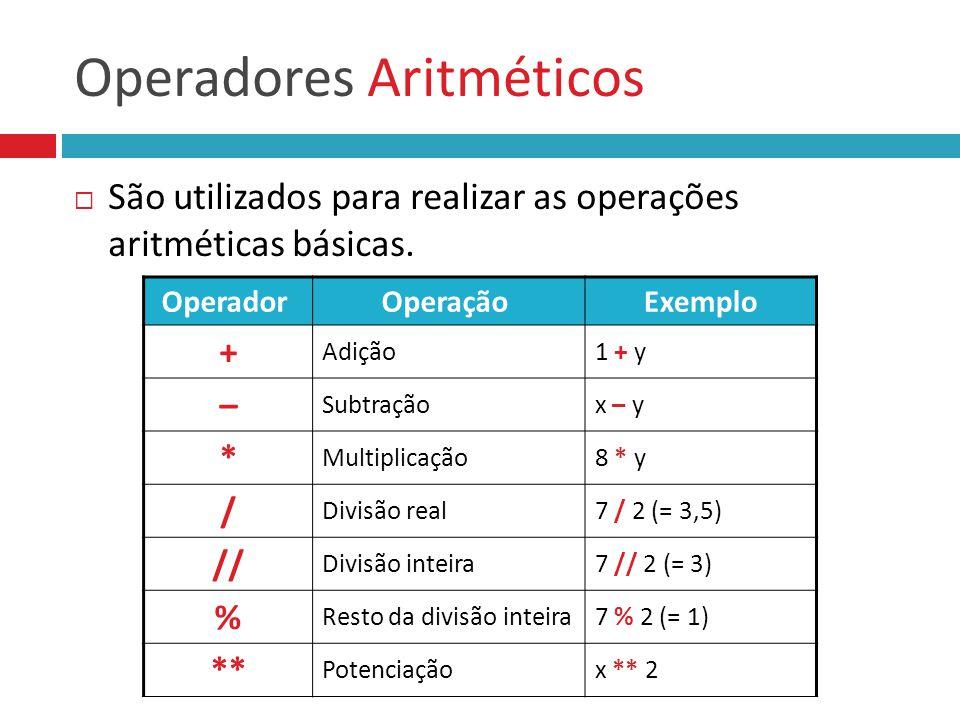 Operadores Aritméticos São utilizados para realizar as operações aritméticas básicas. Operador Operação Exemplo + Adição1 + y – Subtraçãox – y * Multi