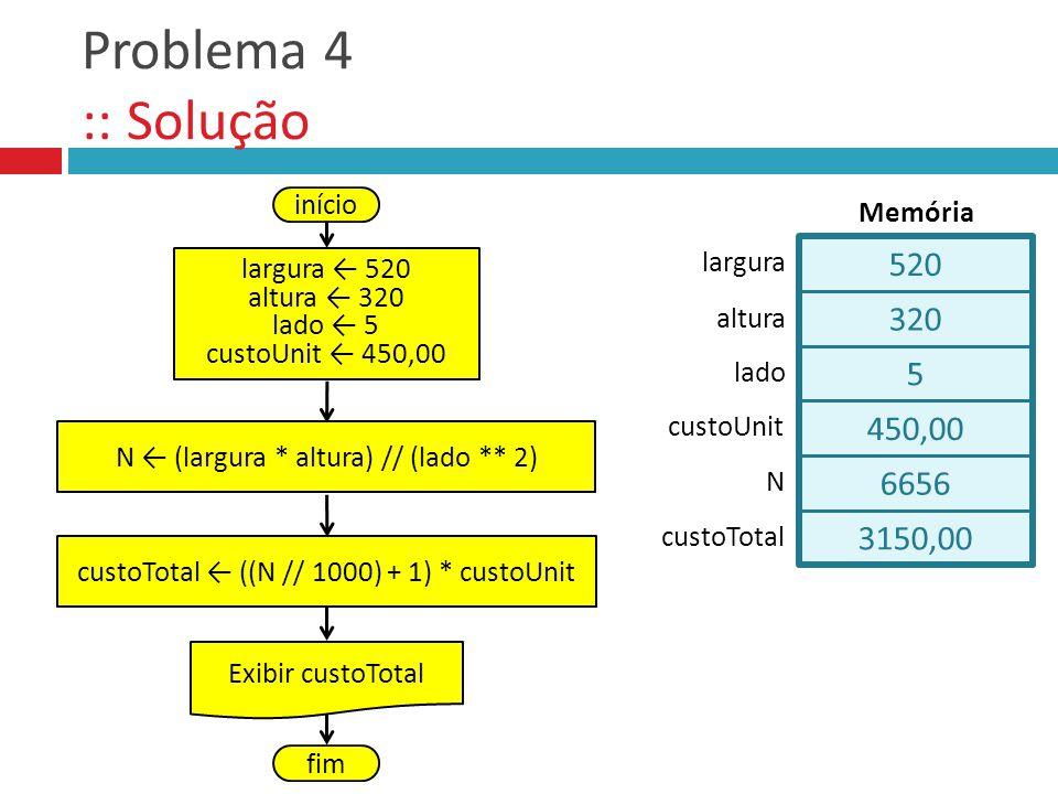 3150,00 6656 Problema 4 :: Solução início largura 520 altura 320 lado 5 custoUnit 450,00 N (largura * altura) // (lado ** 2) Exibir custoTotal fim cus