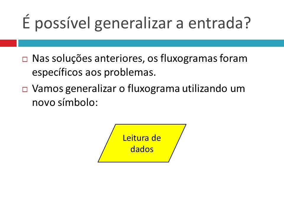 É possível generalizar a entrada? Nas soluções anteriores, os fluxogramas foram específicos aos problemas. Vamos generalizar o fluxograma utilizando u