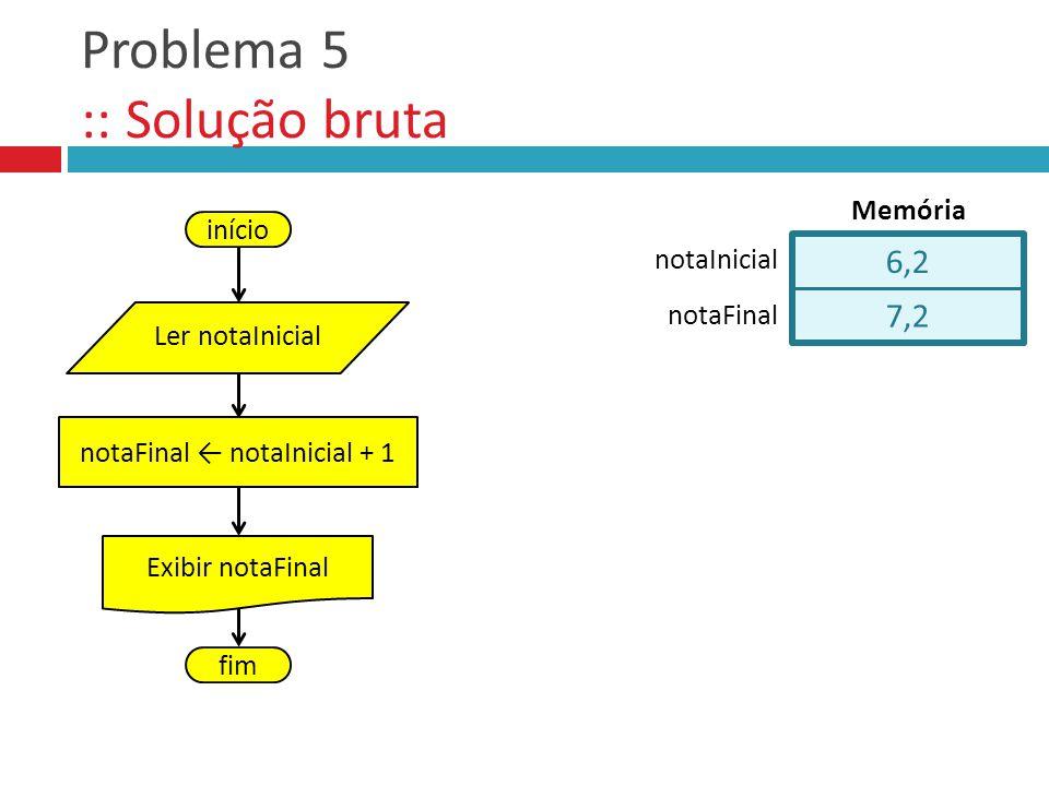 Problema 5 :: Solução bruta início Ler notaInicial notaFinal notaInicial + 1 Exibir notaFinal fim 6,2 7,2 notaFinal notaInicial Memória