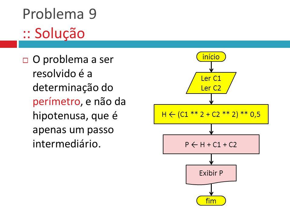 Problema 9 :: Solução O problema a ser resolvido é a determinação do perímetro, e não da hipotenusa, que é apenas um passo intermediário. início Ler C