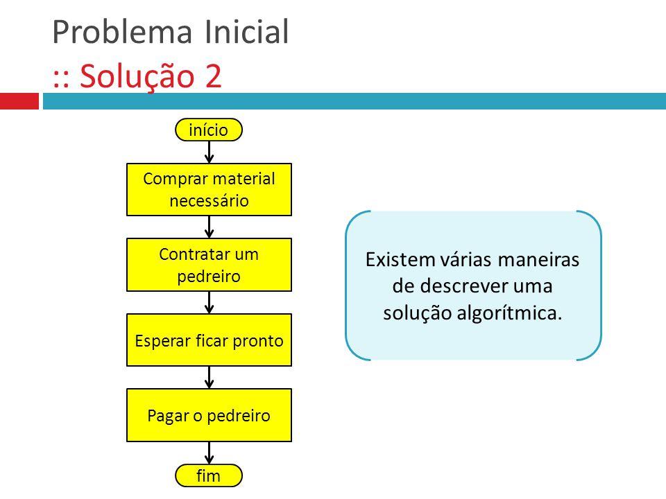 Problema 3 :: Solução início largura 470 altura 290 lado 4 N (largura * altura) // (lado ** 2) + 1 Exibir N fim Operadores Aritméticos 470 290 4 8519 altura largura lado N Memória Todos na mesma unidade de medida!