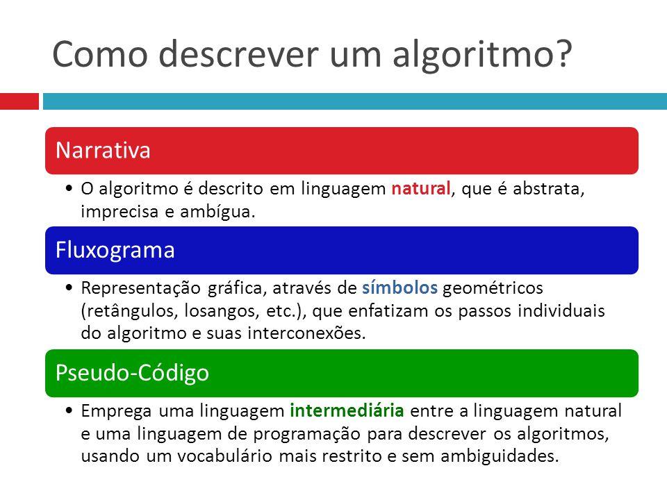 Como descrever um algoritmo? Narrativa O algoritmo é descrito em linguagem natural, que é abstrata, imprecisa e ambígua. Fluxograma Representação gráf