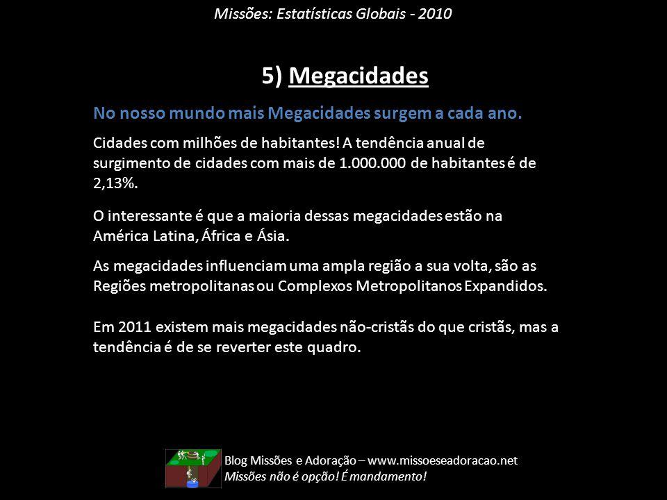 Missões: Estatísticas Globais - 2010 5) Megacidades No nosso mundo mais Megacidades surgem a cada ano. Cidades com milhões de habitantes! A tendência