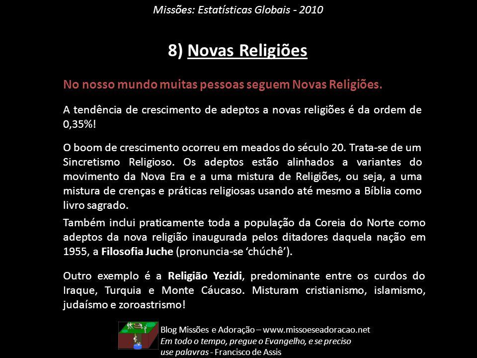 Missões: Estatísticas Globais - 2010 8) Novas Religiões No nosso mundo muitas pessoas seguem Novas Religiões. A tendência de crescimento de adeptos a
