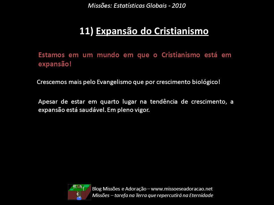 Missões: Estatísticas Globais - 2010 11) Expansão do Cristianismo Estamos em um mundo em que o Cristianismo está em expansão! Crescemos mais pelo Evan
