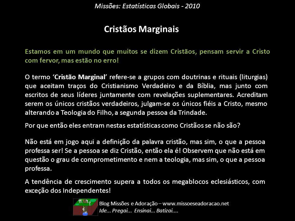 Missões: Estatísticas Globais - 2010 Cristãos Marginais Estamos em um mundo que muitos se dizem Cristãos, pensam servir a Cristo com fervor, mas estão