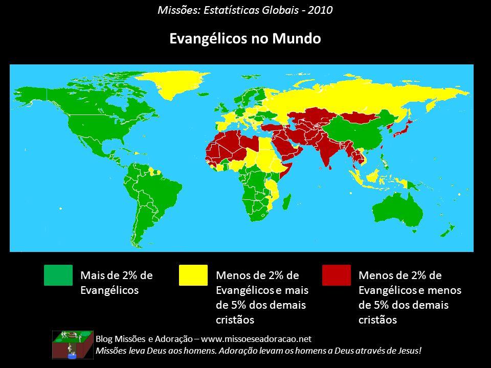 Missões: Estatísticas Globais - 2010 Evangélicos no Mundo Mais de 2% de Evangélicos Menos de 2% de Evangélicos e mais de 5% dos demais cristãos Menos