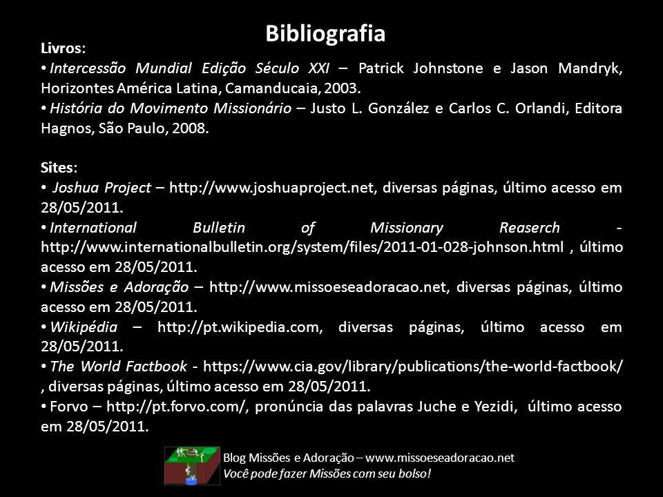 Bibliografia Livros: Intercessão Mundial Edição Século XXI – Patrick Johnstone e Jason Mandryk, Horizontes América Latina, Camanducaia, 2003. História
