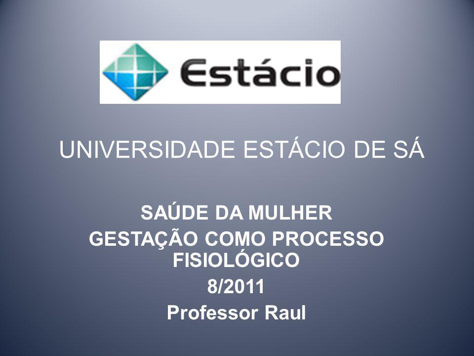 UNIVERSIDADE ESTÁCIO DE SÁ SAÚDE DA MULHER GESTAÇÃO COMO PROCESSO FISIOLÓGICO 8/2011 Professor Raul