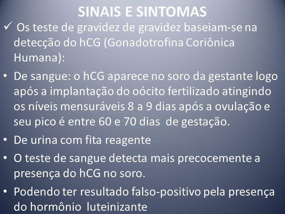 SINAIS E SINTOMAS Os teste de gravidez de gravidez baseiam-se na detecção do hCG (Gonadotrofina Coriônica Humana): De sangue: o hCG aparece no soro da
