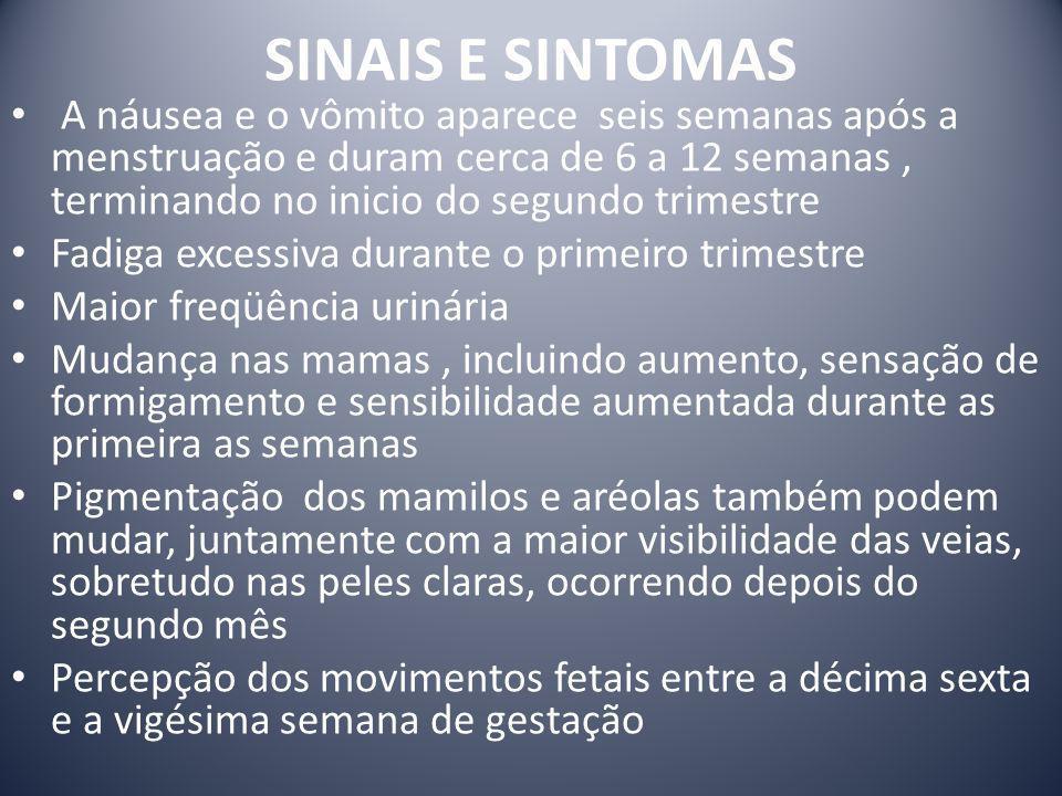 SINAIS E SINTOMAS A náusea e o vômito aparece seis semanas após a menstruação e duram cerca de 6 a 12 semanas, terminando no inicio do segundo trimest