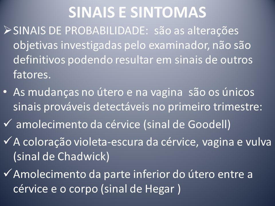 SINAIS E SINTOMAS SINAIS DE PROBABILIDADE: são as alterações objetivas investigadas pelo examinador, não são definitivos podendo resultar em sinais de
