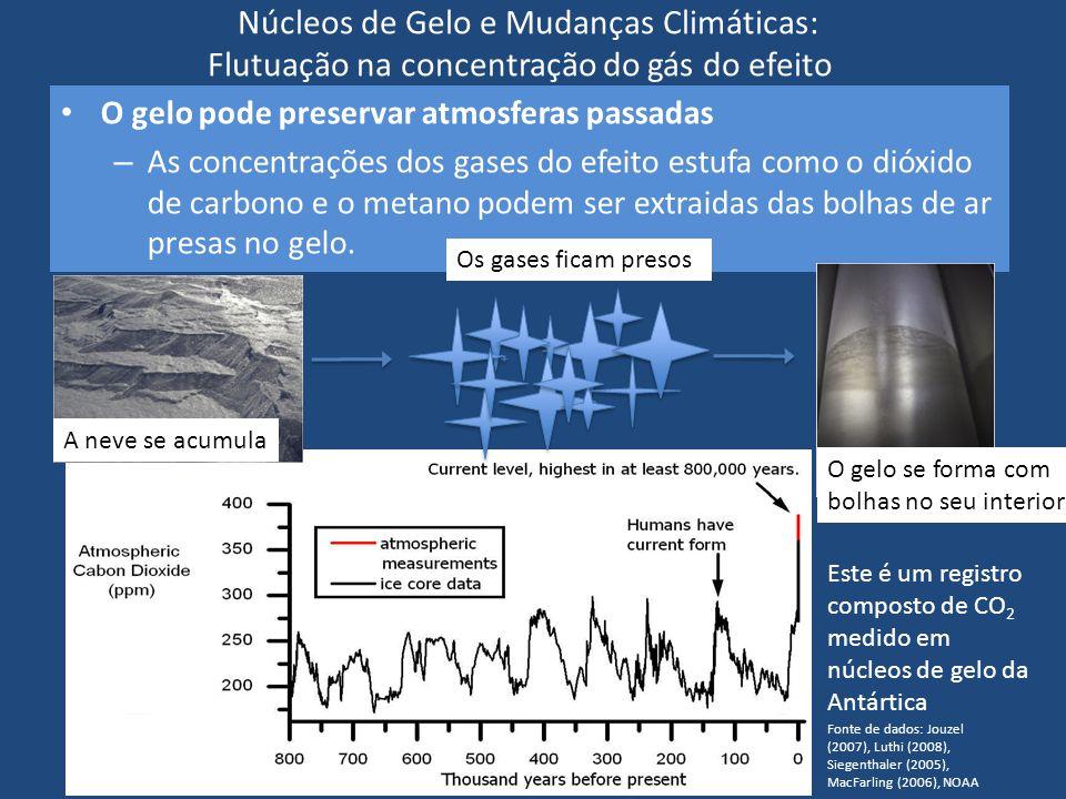 Núcleos de Gelo e Mudanças Climáticas: Flutuação na concentração do gás do efeito estufa O gelo pode preservar atmosferas passadas – As concentrações