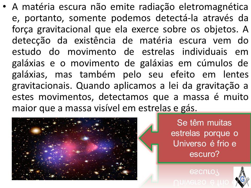 A matéria escura não emite radiação eletromagnética e, portanto, somente podemos detectá-la através da força gravitacional que ela exerce sobre os objetos.