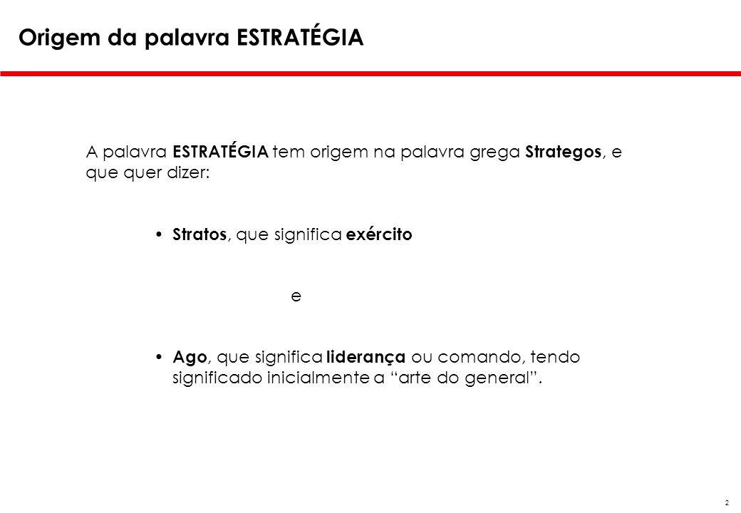 2 Origem da palavra ESTRATÉGIA A palavra ESTRATÉGIA tem origem na palavra grega Strategos, e que quer dizer: Stratos, que significa exército e Ago, qu